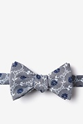 Gray Cotton La Grande Self-Tie Bow Tie