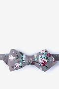 Gray Cotton Nottingham Diamond Tip Bow Tie