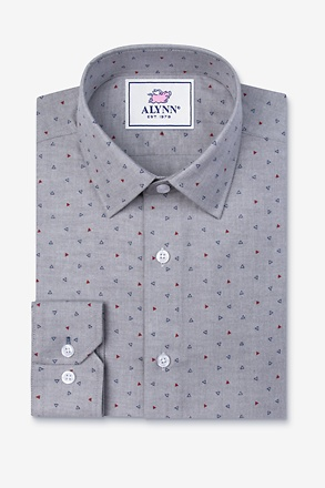 _Percy Gray Slim Fit Untuckable Dress Shirt_