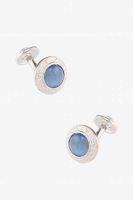 Ornamented Cat Eye Round Cufflinks