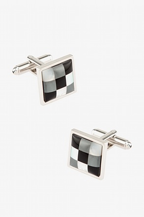 Pixels Square Gray Cufflinks