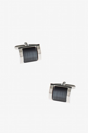 Rectangular Framed Gem Gray Cufflinks
