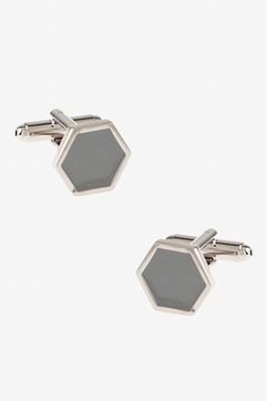 Simple Octagon Gray Cufflinks