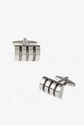 _Striped Half Cylinder Cufflinks_