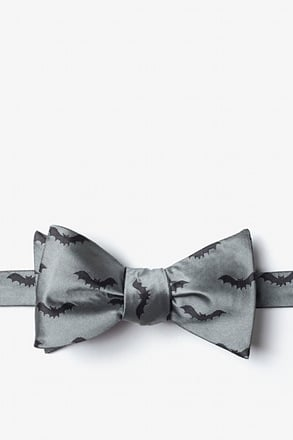 Bats Gray Self-Tie Bow Tie