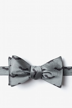_Bats Gray Self-Tie Bow Tie_