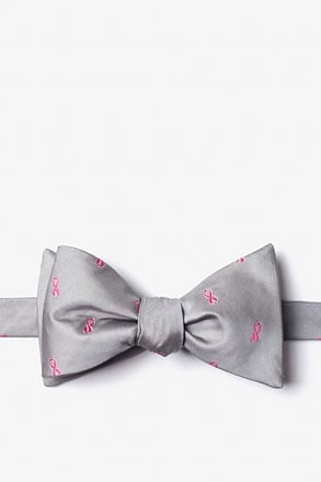 _Breast Cancer Ribbon Gray Self-Tie Bow Tie_