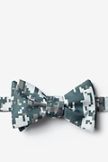 Gray Microfiber Digital Camo Self-Tie Bow Tie