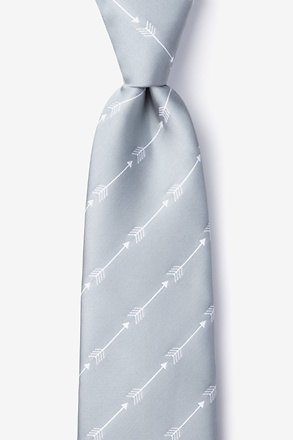_Flying Arrows Gray Extra Long Tie_