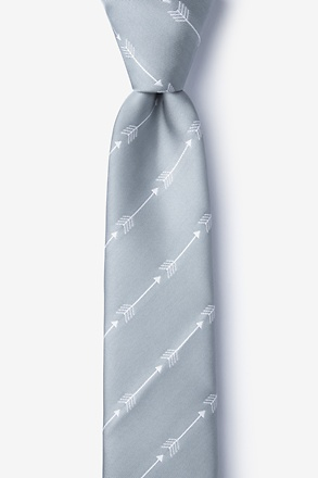 Flying Arrows Gray Skinny Tie