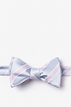 _Jefferson Stripe Gray Self-Tie Bow Tie_