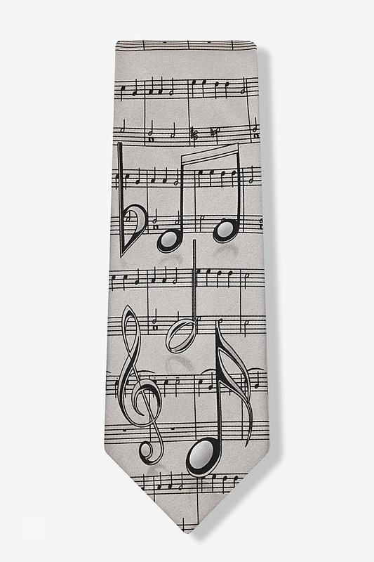 Music Notes Gray Tie Photo (1)