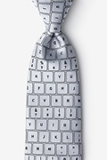 Gray Microfiber QWERTY Keyboard 2.0 Extra Long Tie