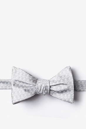 Small Anchors Gray Self-Tie Bow Tie