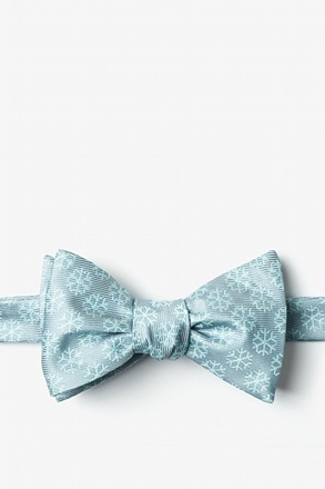 _Snowflakes Gray Self-Tie Bow Tie_