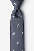 Gray Microfiber Unicorns Extra Long Tie