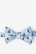 Gray Microfiber Weiner Dogs Self-Tie Bow Tie