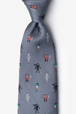 Zombie Pirate Ninja Robot Gray Tie