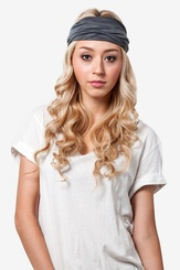 Gray Polyester Basic Stretchy Headband