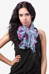 Gray Polyester Bow Tied Scarf