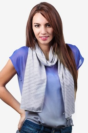 Gray Polyester Candy Stripe Scarf