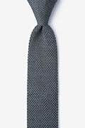 Classic Solid Gray Knit Skinny Tie Photo (0)