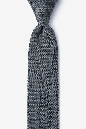 Classic Solid Gray Knit Skinny Tie