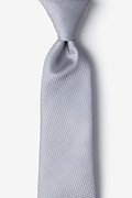 Gray Silk Dominica Extra Long Tie