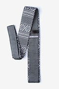 Fair Isle Gray Knit Skinny Tie Photo (1)