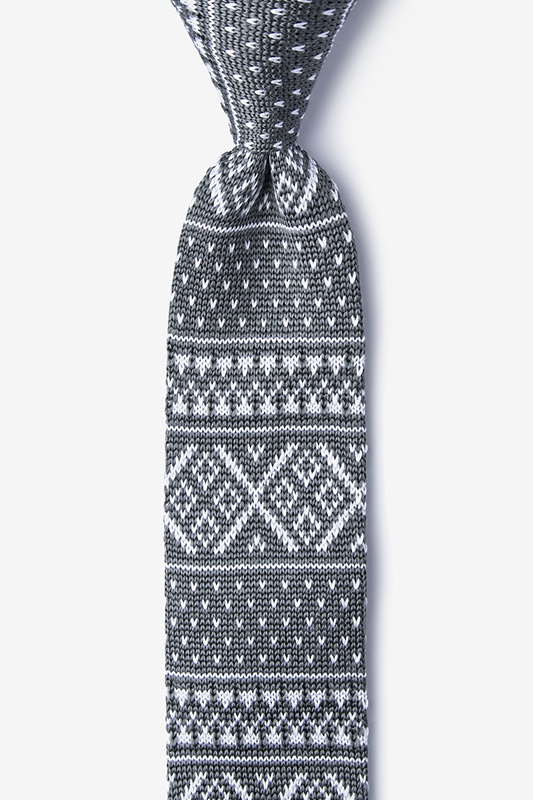 Fair Isle Gray Knit Skinny Tie Photo (0)
