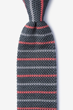 _Swiss Stripe Gray Knit Tie_