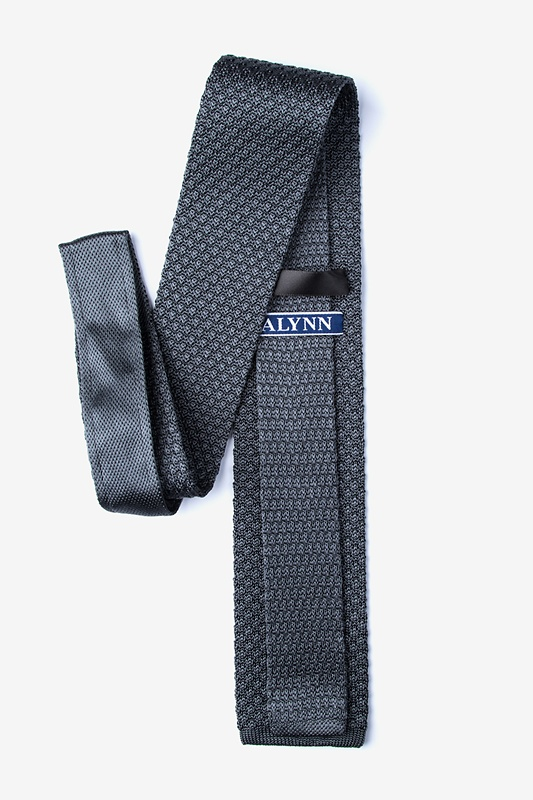 Textured Solid Gray Knit Tie Photo (1)