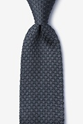 Textured Solid Gray Knit Tie Photo (0)