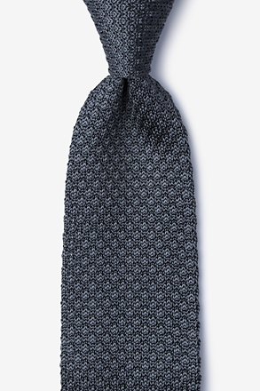 Textured Solid Gray Knit Tie