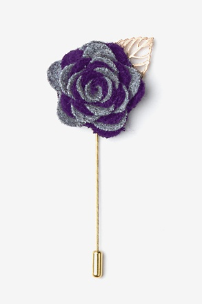 _Two-toned Flower Gold Leaf Gray Lapel Pin_