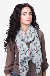 Gray Viscose What's Your Number Scarf