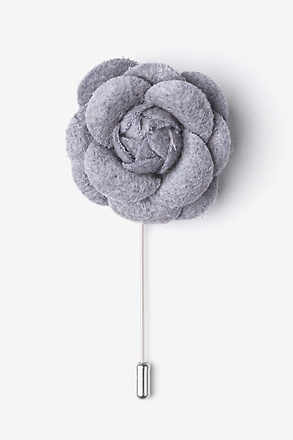 Gray Wool Felt Rose Lapel Pin
