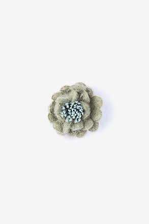 Rustic Yarn Flower Green Lapel Pin