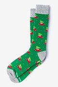 Green Carded Cotton Christmas Vacation Sock