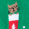 Green Carded Cotton Meowy Christmas Women's Sock