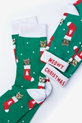 Meowy Christmas Green Women's Sock Photo (1)