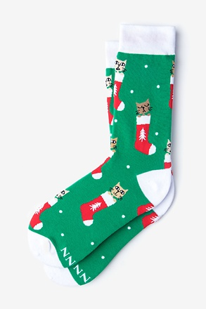_Meowy Christmas Green Women's Sock_