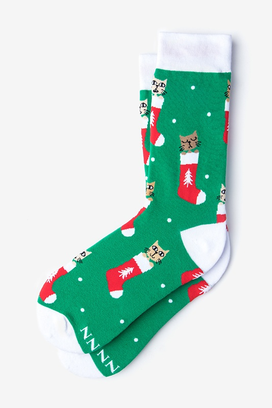 Meowy Christmas Green Women's Sock Photo (0)