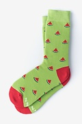 Green Carded Cotton One in a Melon Women's Sock