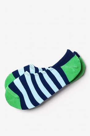 Seal Beach Stripe Green No-Show Sock