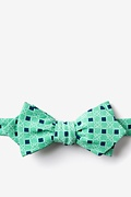 Green Cotton Jamaica Diamond Tip Bow Tie