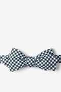 Markson Checks Green Diamond Tip Bow Tie Photo (0)