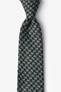 Green Cotton Tempe Extra Long Tie