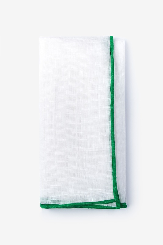 Green Edged Linen Pocket Square Photo (0)