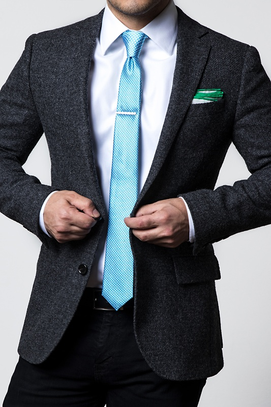 Green Edged Linen Pocket Square